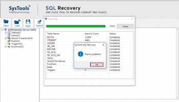 SysTools SQL Recovery screenshot