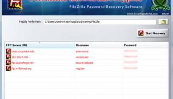 Filezilla Password Decryptor screenshot