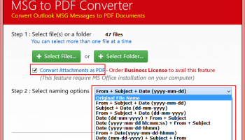 Convert Outlook 2010 Messages to PDF screenshot