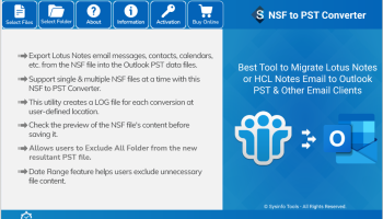 SysInfo NSF to PST Converter screenshot