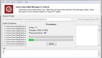 Opera Mail to Outlook Transfer screenshot