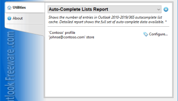 Auto-Complete Lists Report for Outlook screenshot